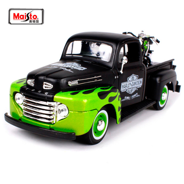 Maisto 1:24 Ford 1948 Ford F-1 Pickup With 1948 Harley Fl Panhead Motorcycle Bike Diecast Model Car Toy New In Box Free Shipping J190525