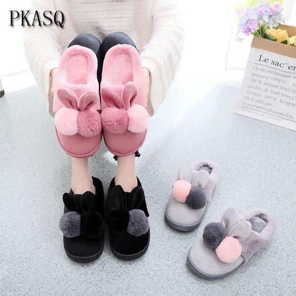 PKSAQ Donne Inverno Caldo Pantofole a casa Cartoon Orecchie Home Shoes Donna Indoor Floor Bedroom Lovers Coppia peluche House Shoes # AN13