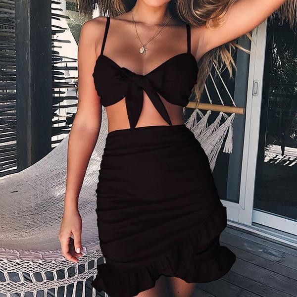 Jocoo Jolee 2018 Neue Frauen Zwei 2 Stück Set Sexy Gurt Fliege Bh Top Hohe Taille Rüschen Rock Sexy Party Sommer Strand Sets