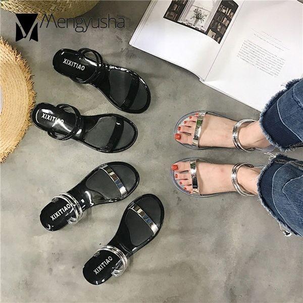 Summer antiskid jelly sandals women narrow band two ways wear sandalias female silver band slip on slippers girls beach sandalia