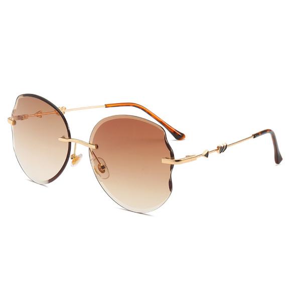love peach heart sunglasses female frameless thick-wing glasses wavy trim glasses curved design couple sunglasses hd ocean sunglasses