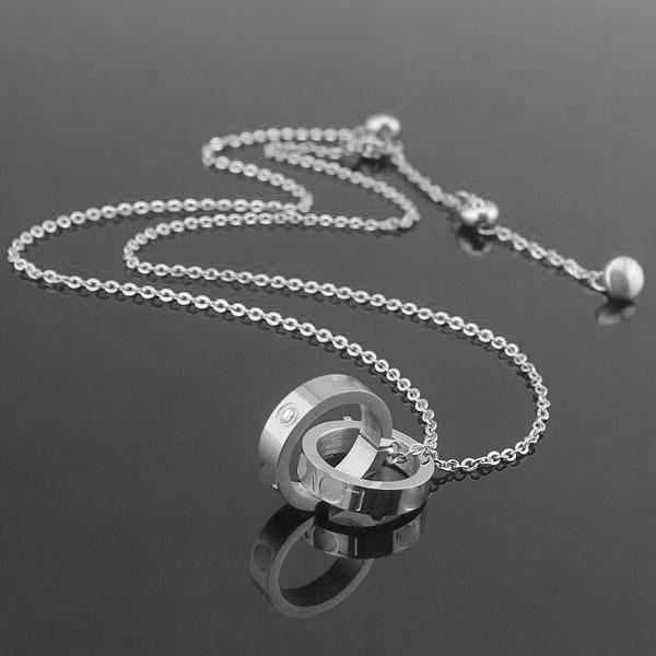 2019 Hot sale 316L titanium steel Double stone ring female necklace pendant 18K gold plated classic large double ring clavicle chain women's