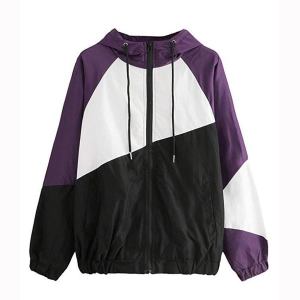 Patchwork Kadın Ceketler Spor Ceket Ince Fermuar Bahar Yaz Giyim Casual Bayan Hoodies için Bayan Hoodies
