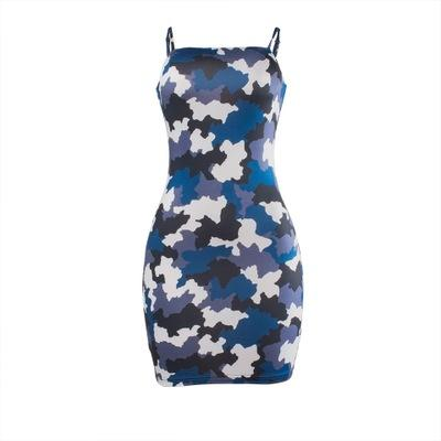 Womens Dress 2019 Summer New Fashion Strap Dress Casual Chess Bottom Wear Skirt Simple Camouflage Printed Dress 4 Styles