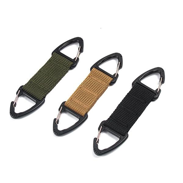 2019 Outdoor Molle Webbing Belt Clip Backpack Carabiner - Double Buckle Tactical Backpack Bag Clasp three colors EDC Hanging Chain Key Hook
