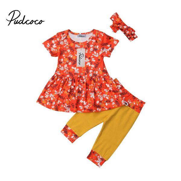 Pantalon Leggings 3PCS//Set enfants bébé fille manches longues Tops T-shirt Bandeau