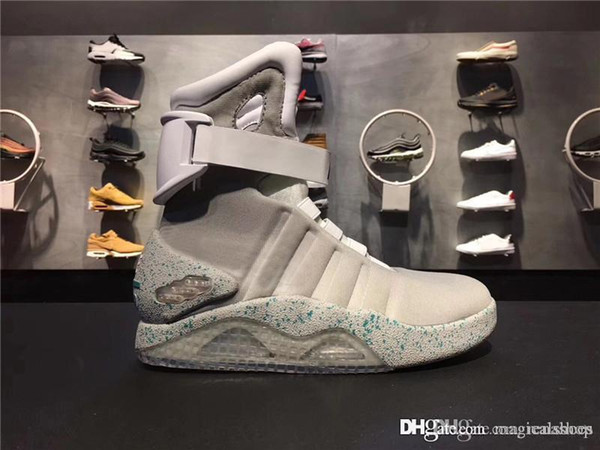 Air Mag Back to the Future Auto Laces Marty McFly LED Boots Shoes Man LED Lighting Grow In The Dark High Top Grey Black Red With Box