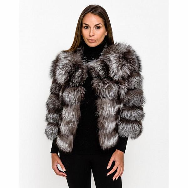 TOPFUR 2019 Moda Inverno Curto Jaqueta De Couro Casaco De Pele De Raposa De Prata Natural Casaco De Pele Real Das Mulheres Três Quartos Mangas Manteau Femme