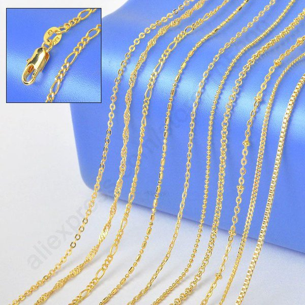 """2015 Sample Order 18"""" Mix 10 Kinds 18K Solid Yellow Gold Filled VenFigaro Rolo Curb Necklace Chains 18K-GF Stamped 1.2-2MM"""
