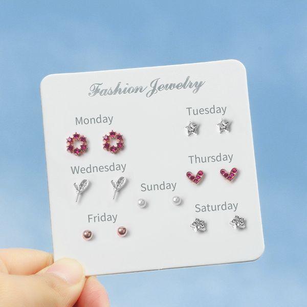 Moda Feminina Bonito Doce Piercings Brinco Pequeno E Simples Vento 7 Pares de Brincos Conjuntos de Cartão Branco Brincos Atacado