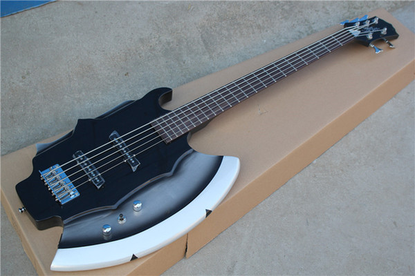 best selling Axe 5 strings Black Body 21 Frets Electric Bass Guitar with Chrome hardware,Rosewood fingerboard,offer customize