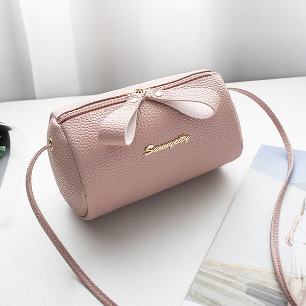 Cheap women handbag small purse bucket bag small cell phone shoulder bag cute solid barrel-shaped cross body zipper bags purse