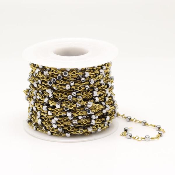 Gümüş Kaplama Pürüzsüz Hematit Küp Boncuk Takı, Tel Sarılmış Altın Linkler Kare Boncuk Zincir Kolye El Sanatları, 3mm