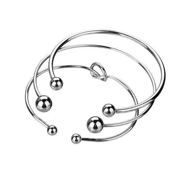 Creativo nodo aperto braccialetti bracciali per le donne minimalista argento colore punk polsini geometrici braccialetti set gioielli BB402