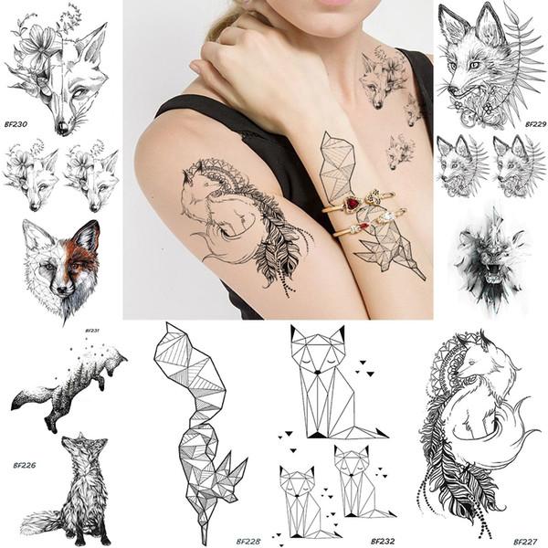 Diy Geometric Animals Fox Plant Temporary Tattoo Women Sexy Waterproof Disposable Black Tatoos Body Art Painting Tattoo Stickers Temporary Tattoo