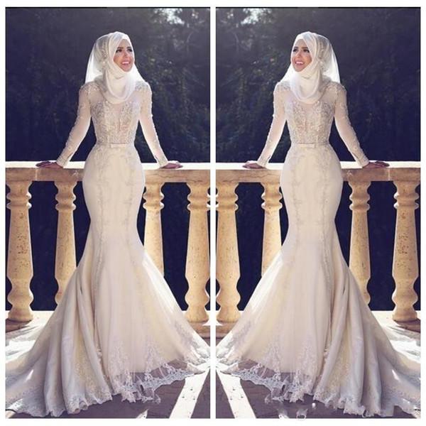 Musulmano Slim Fishtail stile arabo sirena abiti da sposa maniche lunghe pizzo applique o collo hijab sirena lunghi abiti da sposa