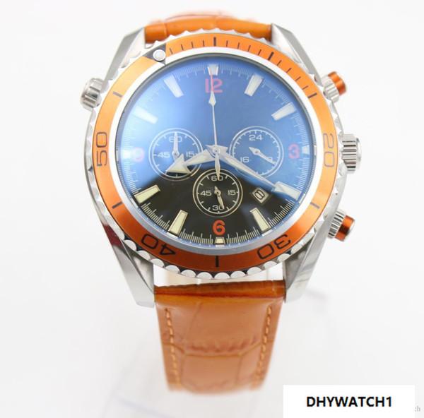 2018 Hot seller watch men quartz stopwatch Co-Axial planet ocean chronograph function watch orange leather belts watches men dress wri