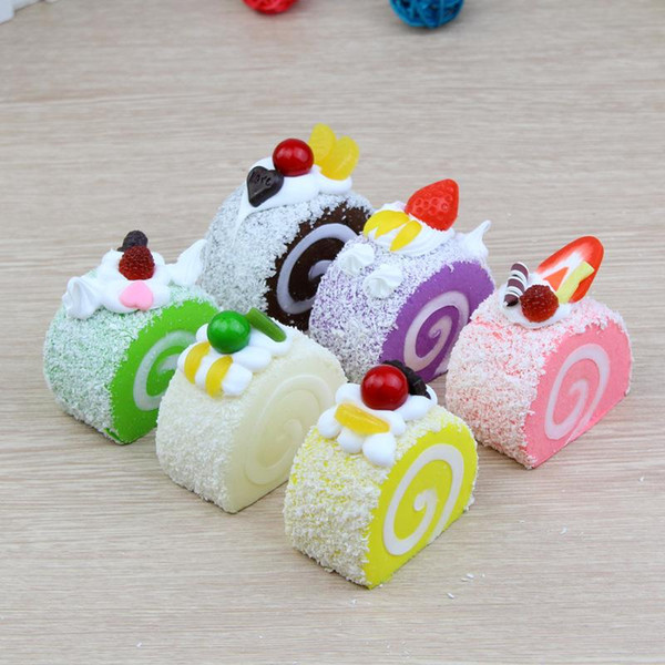 Prettygift 6 styles Fruit egg roll Cake Slow Rising Squishy Squeeze home decoration Squishies Toys For Kids Decompression Toy christmas gift