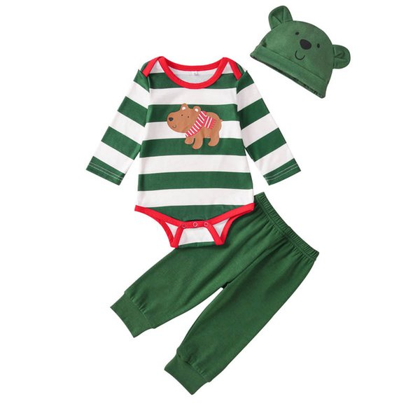 2019 Christmas baby boys suits Cartoon newborn outfits baby boy clothes long sleeve romper+Pants+hats 3pcs/set infant sets A9711