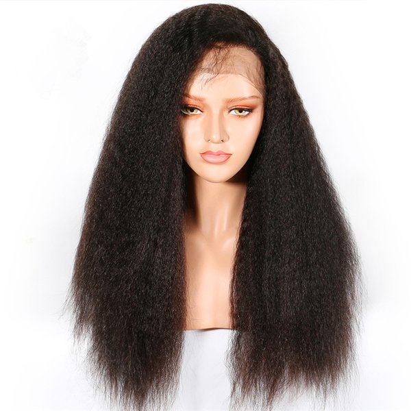 Lace Front Human Hair Wigs For Black Women Brazilian Yaki Straight Lace Front Wig PrePlucked With Baby Hair Remy Hair