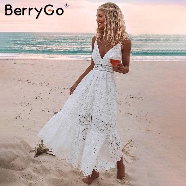 Berrygo Pérolas Brancas Sexy Mulheres Verão Oco Out Bordados Bodycon Vestido de Algodão Festa À Noite Sólidos Longos Vestidos Q190508