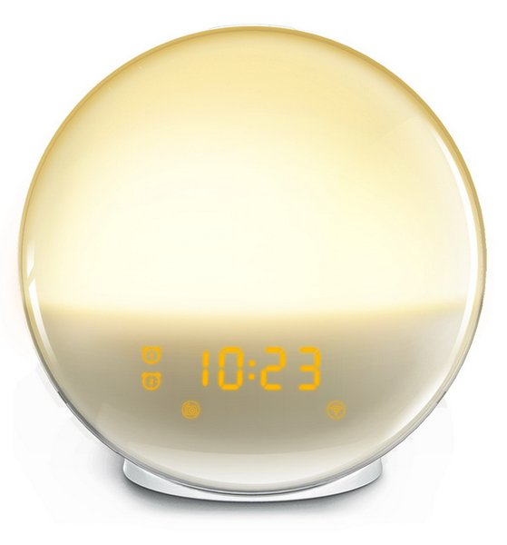 Wake-Up Light Alarm Clock with Colored Sunrise Simulation and FM Radio for Bedroom Support Alexa Google Home AI Speaker Voice Controller