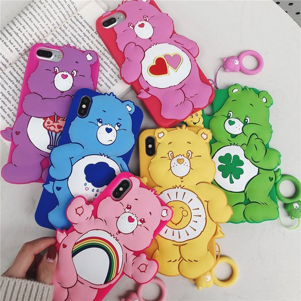 Lovely 3D Cute Care Bears Phone Case Para iphone 6 6S 7 Plus 8 X Divertido Volver cubierta de silicona para iphone XS Max XR con cordón