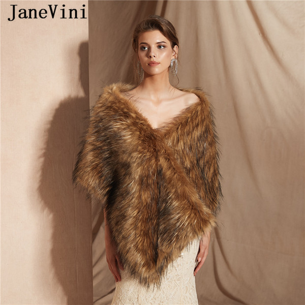 JaneVini 2019 New High Quality Long Hair Faux Fur Bridal Shawl and Wraps Stoles Bolero for Women Winter Warm Cape Cloak Wedding Accessories