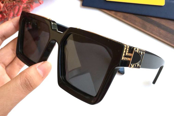 Luxury Millionaire Square Sunglasses full frame Vintage designer sunglasses for men Shiny Gold Logo Hot sell Gold plated Top 96007 With Box
