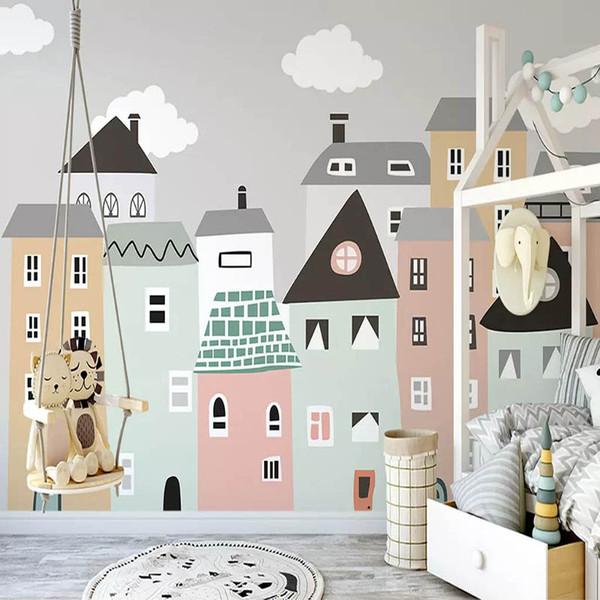 Personnalisé Mur Papier Peint Pour Chambre D'enfant Peint À La Main Petite Maison Enfants Chambre Chambre Papier Peint Décoratif Peintures Murales Papel De Parede