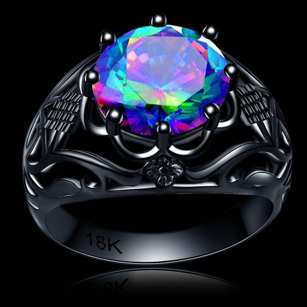 Uphot Free Shipping hot 10mm CZ Cubic Zircon flower Ring black gold filled clear colorful party birthday Gift for women Retail & Wholesale