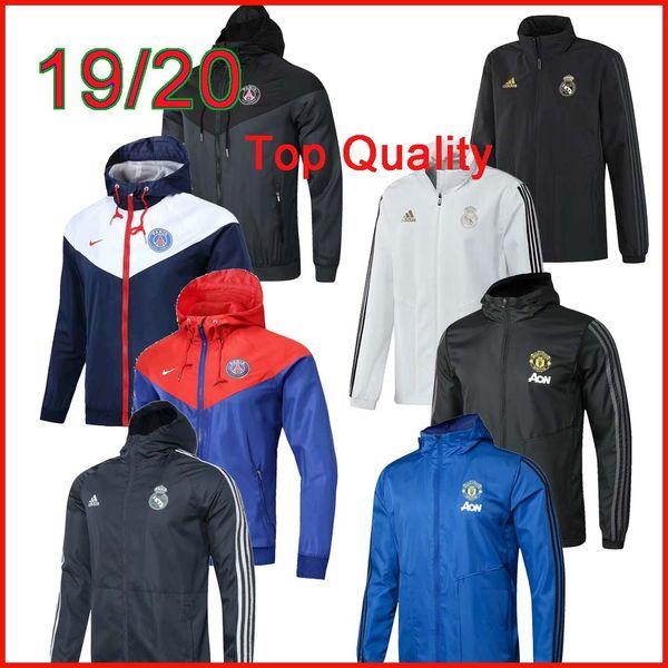 Оптовая новый Париж куртка с капюшоном Ветровка Survetement 19 20 Реал Мадрид Манчестер футбол рома куртка Бразилия Спортивная пальто