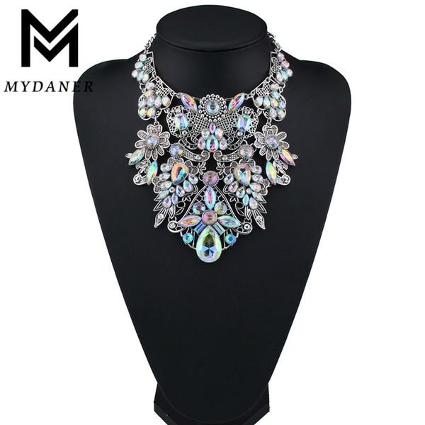 MYDANER marque de mode strass multicolores Bohême Bonne qualité Chunky Collier ras du cou Maxi femmes Collier tendance Bijoux V191206