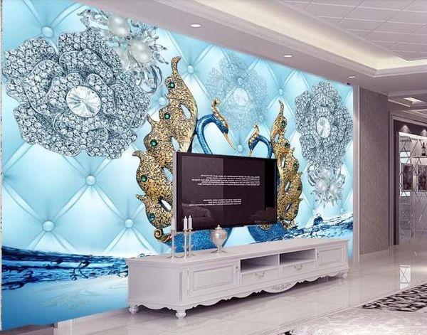 Özel 3D Duvar Kağıdı Ipek Kumaş Su Geçirmez Tuval Resimleri Duvar PaintingLuxury 3d kuğu elmas çiçek su takı Duvar Kağıdı