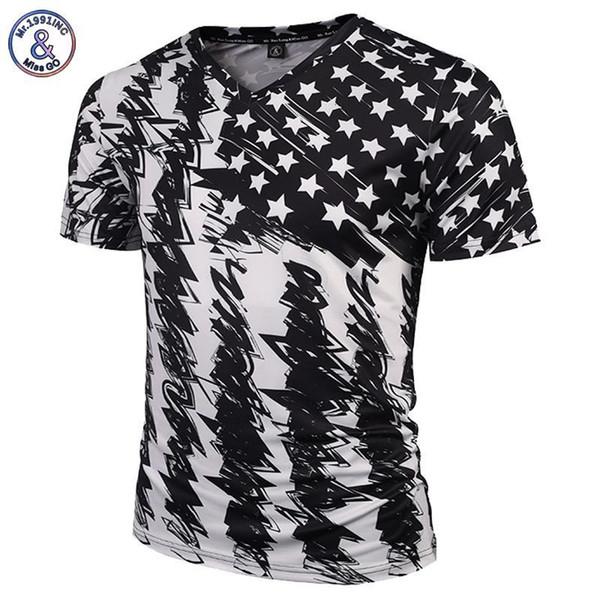 Mr.1991inc New Fashion Brand Tshirt Men/women V-neck 3d T-shirt Print Skulls Roses Flowers Usa Flag T Shirt Summer Tops Tees Y19050803