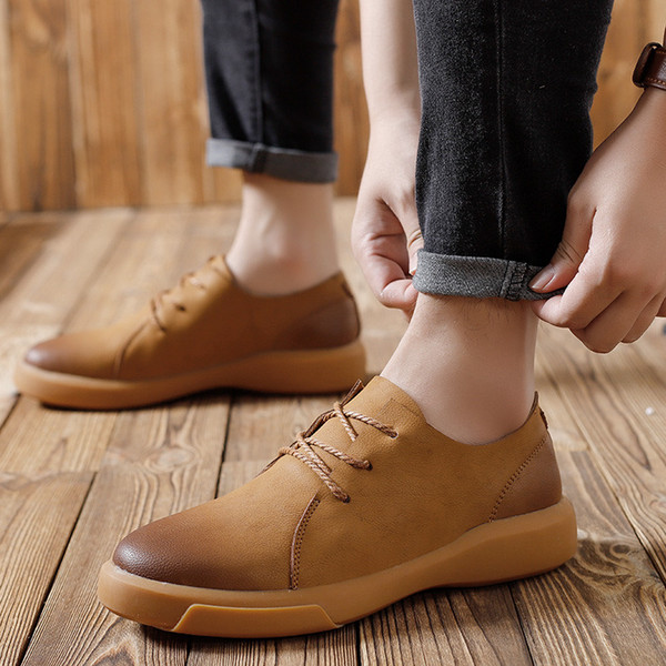 Genuine Leather Men Shoes Quality Lace Up Casual Men leather Loafers Soft Men Flats Hot Sale Moccasins