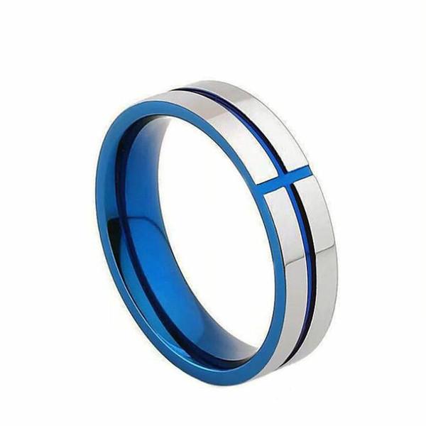 Genişlik 6mm Boyutu 5.5-14 Yüksek Kalite Paslanmaz Çelik Altın Mavi Çapraz Yüzük Düğün Band Anel severler için