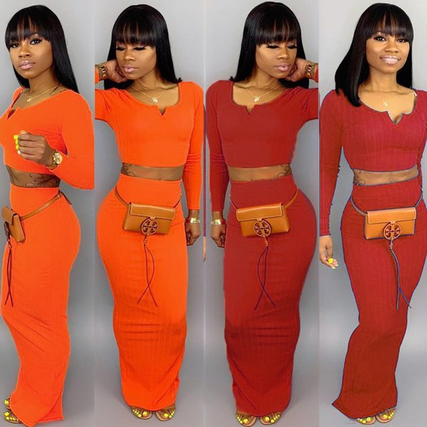 Knit Sweater Women Two Piece Outfits Sexy 2 Piece Skirts Set Sexy Sweetheart Long Sleeve Crop Top Zipper Split Maxi Skirts Suits Orange Red