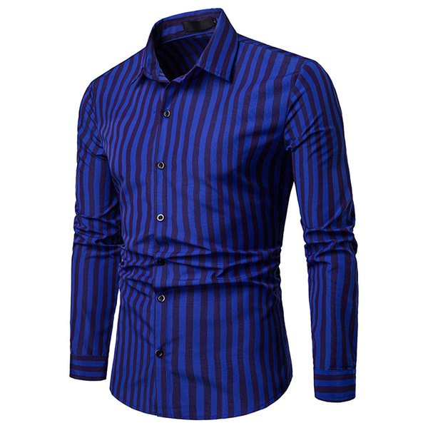 Men Shirt Long Sleeve Shirts Streetwear Striped Men Dress Mens Shirts Clothing 2019 Casual Slim Fit Man Shirt Work Clothes