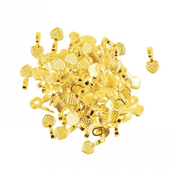 500 STÜCKE Shiny Gold Herz Kleber auf Kautionen Einstellung Für Fliesen Glas Halsketten Ohrringe Anhänger Armband, DIY Handwerk