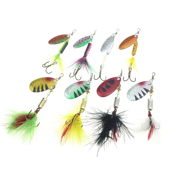 Rompin Fishing Lures Spinner Wobblers CrankBaits Jig Shone Metal Sequin Trout Spoon With Feather Hooks for Carp Fishing Pesca