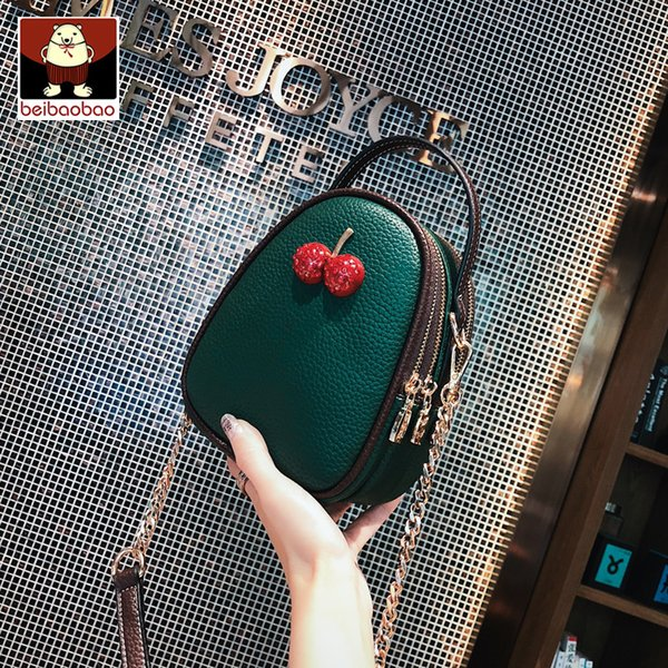 Free Shipping 2019 New Women Handbags Fashion Cherry Decoration Woman Bag Korean Version Shoulder Bag Trend Messenger Bag