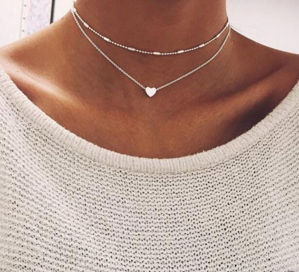 2018 New Fashion Punk Necklace Simple Tide Street Shot Copper Peach Heart Multi-layer Clavicle Necklace Lady Wholesale Sales