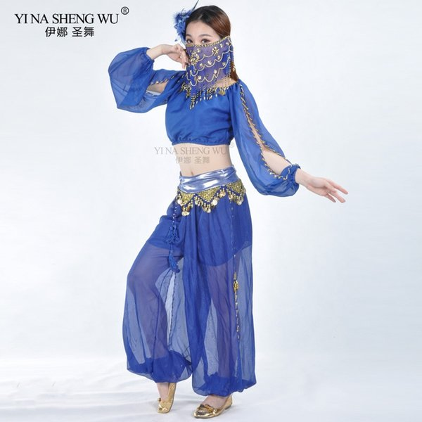 Bollywood Dance Costumes Belly Dance Costumes Set For Women Chiffon Bollywood Orientale Belly Top+Pants+Face Veil