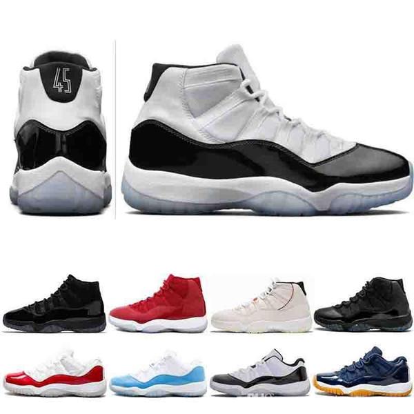 Concord 45 XI 11 s homens tênis de basquete platinum matiz ginásio vermelho ganhar como 96 Mens Designer de sapatos de moda de luxo das mulheres dos homens sandálias de grife sapatos