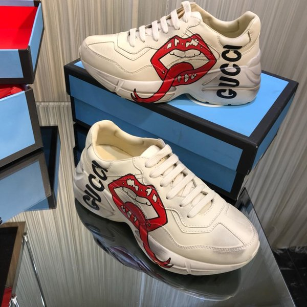 top popular 2019sss fashion wild men and women sports shoes, printed stripes non-slip couple casual shoes, with a full set of original package delivery 2019