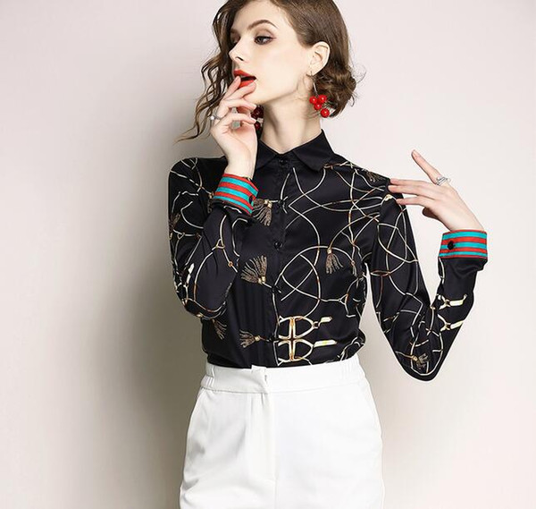 chain printed black blouse long sleeve women blouse lapel neck fashion summer ladies shirts with single breasted