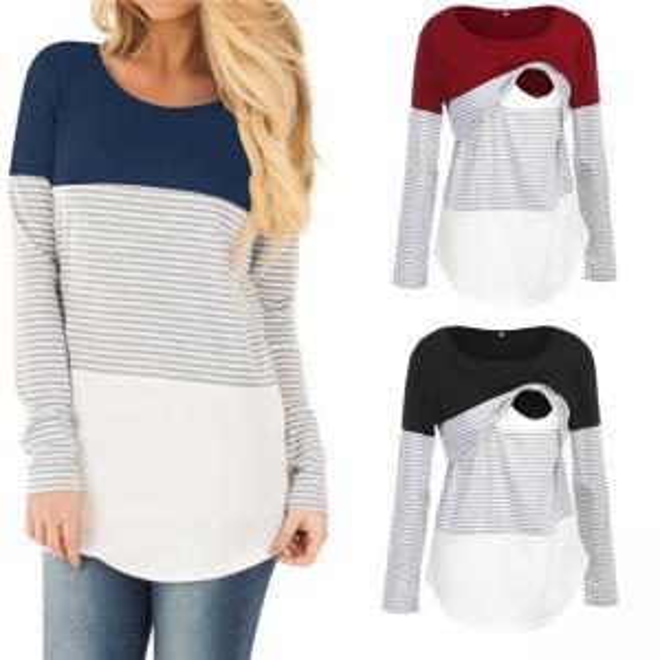 Stripe Nursing T Shirt Patchwork Women Pregnant Mother Long Sleeve Breastfeeding Loose Tops Pregnancy Clothing LJJO6248