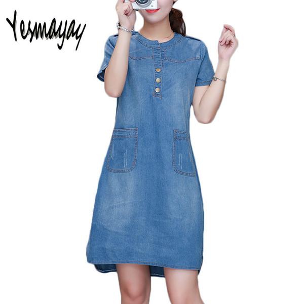2018 Summer Denim Dress Women Plus Size 4xl con cuello en v manga corta Denim Jeans Vestido de bolsillo Vestidos Mujer Ropa Vestidos Robe S19713