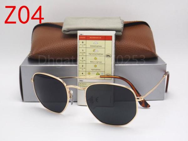 High Quality Mens Womens Fashion Hexagonal Metal Sunglasses Irregular Personality Sun Glasses Gold black 51mm G15 Glass Lens with brown box